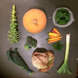 November CSA Share: Winter Luxury pie pumpkin, Leek, Salad Mix, rainbow carrots, broccoli, pink radicchio, brussels sprouts, kale